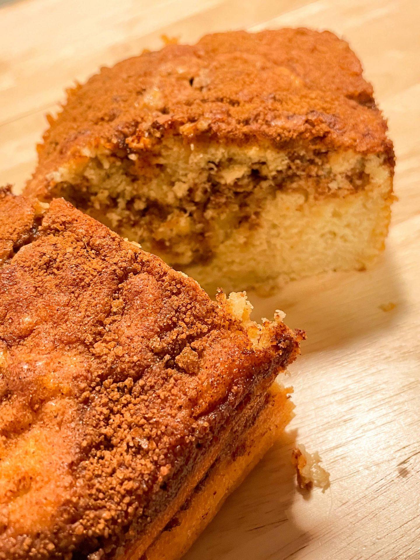 sliced cinnamon apple bread photo